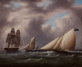 Maritime:Paintings, Attributed to JAMES EDWARD BUTTERSWORTH (American, 1817-1894).English Cutters Racing (English Racing Slopes). Oil on ca...