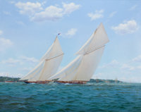 STEPHEN J. RENARD (British, b. 1947) 'Vigilant' and 'Britannia', Cowes Week, 1894 Oil on canvas 3