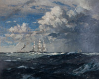 NORMAN WILKINSON (British, 1878-1971) Clippers 'Ariel' & 'Taeping' Oil on canvas 40 x 50 inches (