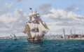Paintings, ROY CROSS (British, b. 1924). Whaler 'Lexington' Leaving Nantucket, 1999. Oil on canvas. 32 x 50 inches (81.3 x 127 cm)...
