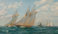 Maritime:Paintings, ANTHONY BLAKE (American, b. 1951). 'Sappho' Passing 'Livonia',Americas Cup, 1871. Oil on canvas. 24 x 40 inches (61.0 x...