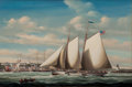 Maritime:Paintings, SALVATORE COLACICCO (British Italian, b. 1935). Yacht 'Felicity'Off Nantucket. Oil on canvas. 24 x 36 inches (61.0 x 91...