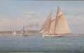 Maritime:Paintings, RICHARD K. LOUD (American, b. 1942). Yacht 'America' EnteringMarblehead. Oil on canvas. 26 x 42 inches (66.0 x 106.7 cm...