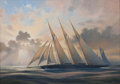 Maritime:Paintings, LEONARD JOHN PEARCE (British, b. 1932). Atlantic Winner of theKaiser's Cup Trans-Atlantic Race. Oil on canvas. 18 x 25 ...