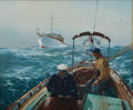 Maritime:Paintings, JACK LORIMER GRAY (American, 1927-1981). Two Men in Cockpit.Oil on canvas board. 20 x 24 inches (50.8 x 61.0 cm). Signe...