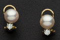 Estate Jewelry:Earrings, Diamond & Pearl Gold Earrings. ...