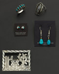 Estate Jewelry:Other , Five Sterling Pieces Two Earrings Two Rings And One Pin. ... (Total: 5 Items)