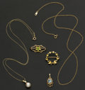 Estate Jewelry:Other , Two Gold Chains Two Pins & Two Pendants. ...