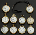 Timepieces:Pocket (post 1900), A Lot Of Ten American Pocket Watches Railroad Grade. ... (Total: 10 Items)