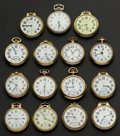 Timepieces:Pocket (post 1900), A Lot Of Fifteen American Railroad Pocket Watches Including A 23 Jewel Vanguard. ... (Total: 15 Items)