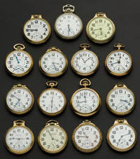 A Lot Of Fifteen American Railroad Pocket Watches Including A 23 Jewel Vanguard