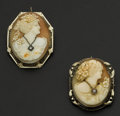Estate Jewelry:Cameos, Two 14k Gold Vintage Cameo's. ... (Total: 2 Items)
