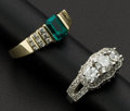 Estate Jewelry:Rings, Emerald & Gold Ring And A Diamond & Gold Ring. ... (Total: 2 Items)