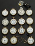 Timepieces:Pocket (post 1900), A Lot Of Fifteen American Railroad Pocket Watches Including A 23Jewel Vanguard. ... (Total: 15 Items)