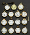 Timepieces:Pocket (post 1900), A Lot Of Fifteen American Pocket Watches Railway Grade IncludingTwo Hamilton's 23 Jewel 950. ... (Total: 15 Items)