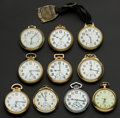 Timepieces:Pocket (post 1900), A Lot Of Ten American Pocket Watches Railroad Grade Including A 23Jewel Vanguard All Runners. ... (Total: 10 Items)