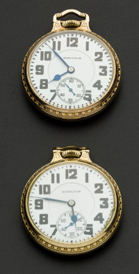 Two Hamilton's 21 Jewel 992 Pocket Watches Runners