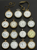 Timepieces:Pocket (post 1900), A Lot Of Fifteen American Pocket Watches Railroad Grade Including A23 Jewel Vanguard. ... (Total: 15 Items)