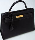Luxury Accessories:Bags, Heritage Vintage: Hermes Dark Brown Box Leather Kelly. ...