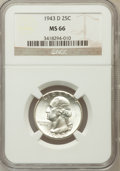 Washington Quarters: , 1943-D 25C MS66 NGC. NGC Census: (401/130). PCGS Population(447/43). Mintage: 16,095,600. Numismedia Wsl. Price for proble...