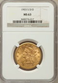 Liberty Eagles: , 1903-S $10 MS63 NGC. NGC Census: (233/375). PCGS Population(242/278). Mintage: 538,000. Numismedia Wsl. Price for problem ...