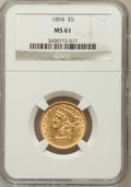 Liberty Half Eagles: , 1894 $5 MS61 NGC. NGC Census: (860/1896). PCGS Population(299/712). Mintage: 957,800. Numismedia Wsl. Price for problemfr...