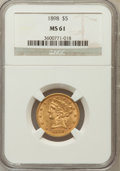 Liberty Half Eagles: , 1898 $5 MS61 NGC. NGC Census: (631/1313). PCGS Population(189/472). Mintage: 633,495. Numismedia Wsl. Price for problemfr...