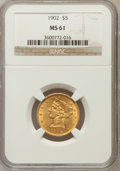 Liberty Half Eagles: , 1902 $5 MS61 NGC. NGC Census: (337/903). PCGS Population (114/601).Mintage: 172,400. Numismedia Wsl. Price for problem fre...
