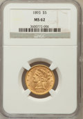 Liberty Half Eagles: , 1893 $5 MS62 NGC. NGC Census: (2534/2166). PCGS Population(1135/946). Mintage: 1,528,197. Numismedia Wsl. Price for proble...