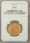 Liberty Eagles: , 1882 $10 MS60 NGC. NGC Census: (1162/10561). PCGS Population(944/4711). Mintage: 2,324,480. Numismedia Wsl. Price for prob...