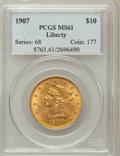 Liberty Eagles: , 1907 $10 MS61 PCGS. PCGS Population (2754/10807). NGC Census:(5295/16523). Mintage: 1,203,973. Numismedia Wsl. Price for p...