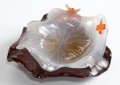 Asian:Chinese, A CHINESE CARVED HARDSTONE FLORIFORM DISH . 20th century . 4 incheswide (10.2 cm). ... (Total: 2 Items)