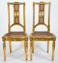 Furniture , A PAIR OF LOUIS XVI STYLE GILT AND CANED WOOD CHAIRS . 20th century . 38 inches high x 17 inches wide x 16 inches deep (96.5... (Total: 2 Items)