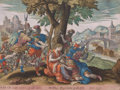 Prints, SAMSON AND DELILAH. 1585. Handcolored engraving. 10-1/4 x13-1/4 inches (26.0 x 33.7 cm). Published by G...
