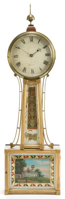 A WILLARD PATINATED BRONZE, WOOD, AND REVERSE PAINTED GLASS BANJO CLOCK Boston, Massachusetts, 19th century Ma