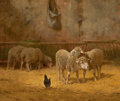 Fine Art - Painting, European, CHARLES H. CLAIR (French, 1860-1930). Barn Interior withSheep. Oil on canvas. 18 x 16 inches (45.7 x 40.6 cm). Signedl...