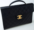 Luxury Accessories:Bags, Heritage Vintage: Chanel Black Caviar Leather Quilted Laptop Case....