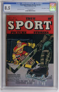 "Golden Age (1938-1955):Non-Fiction, True Sport Picture Stories V4#6 Davis Crippen (""D"" Copy) pedigree(Street & Smith, 1948) CGC VF+ 8.5 Off-white to white pages...."