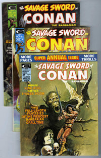 Savage Sword of Conan Group (Marvel, 1974-75) Condition: Average VF-. Includes issues #2 (Neal Adams cover, Howard Chayk...