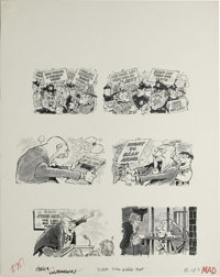 """Bob Jones - Mad #207 Page Original Art, Group of 3 (EC, 1979). From the """"Double-Standard-Bearers Dept."""" comes..."""