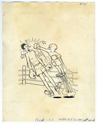 """Warren Kremer (attributed) - Mutt and Jeff #125 Cover Original Art (Harvey, 1960). Jeff """"springs"""" into a knock..."""