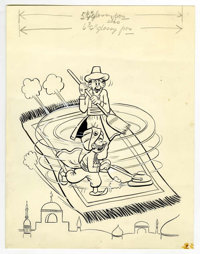 Warren Kremer (attributed) - Mutt and Jeff Cover Original Art (Harvey, undated). Jeff gives a flying carpet the magic to...