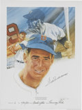 "Baseball Collectibles:Others, Ted Williams Signed Limited Edition Lithograph. Beautiful 20x24""print depicts the hitting legend Ted Williams. The exampl..."