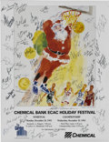 Basketball Collectibles:Others, 1992 ECAC Holiday Festival Tournament Poster Signed by LeRoy Neimanand Members of the Semifinal Teams. Designed for the 19...