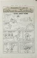 """Original Comic Art:Complete Story, Marty Taras - Baby Huey, the Giant Baby #14, Complete 5-page Herman and Katnip Story """"Home Sweet Home"""" Original Art (Harvey, 1... (Total: 5 Items)"""