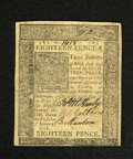Colonial Notes:Delaware, Delaware January 1, 1776 18d Choice New. A lovely uncirculatedexample with three bold signatures, crackling fresh paper and...