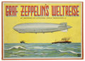 """Transportation:Aviation, Vintage Graf Zeppelin Board Game, Graf Zeppelin's Weltreise, ca. late 1920s, unfolds to 21.25"""" x 14"""", housed in 15.25"""" x... (Total: 1 Item)"""