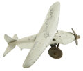 "Transportation:Aviation, Douglas ""Wrong Way"" Corrigan Toy Airplane, 5.75"" long, die-stampedmetal parts painted white, ""Doug Corrigan Jalopy"" on wing...(Total: 1 Item)"