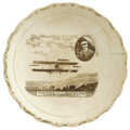 "Transportation:Aviation, Brown Transferware Dish With Curtiss Biplane, Glenn H. Curtissportrait in oval inset, caption reads ""Curtiss and his Aeropl...(Total: 1 Item)"
