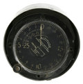 "Transportation:Aviation, Vintage U.S. Army Altimeter, 4.5"" diameter, 1.5"" deep, paintedblack steel casing, graduated dial measuring a maximum height...(Total: 1 Item)"